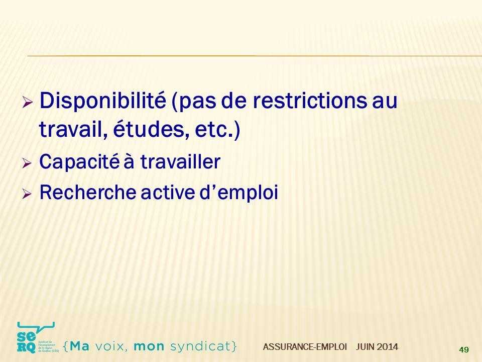 Disponibilité (pas de restrictions au travail, études, etc.)