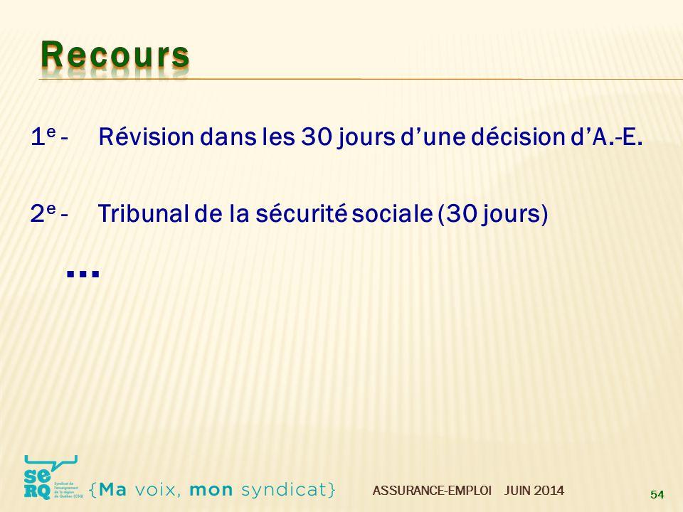 Recours 1e - Révision dans les 30 jours d'une décision d'A.-E.
