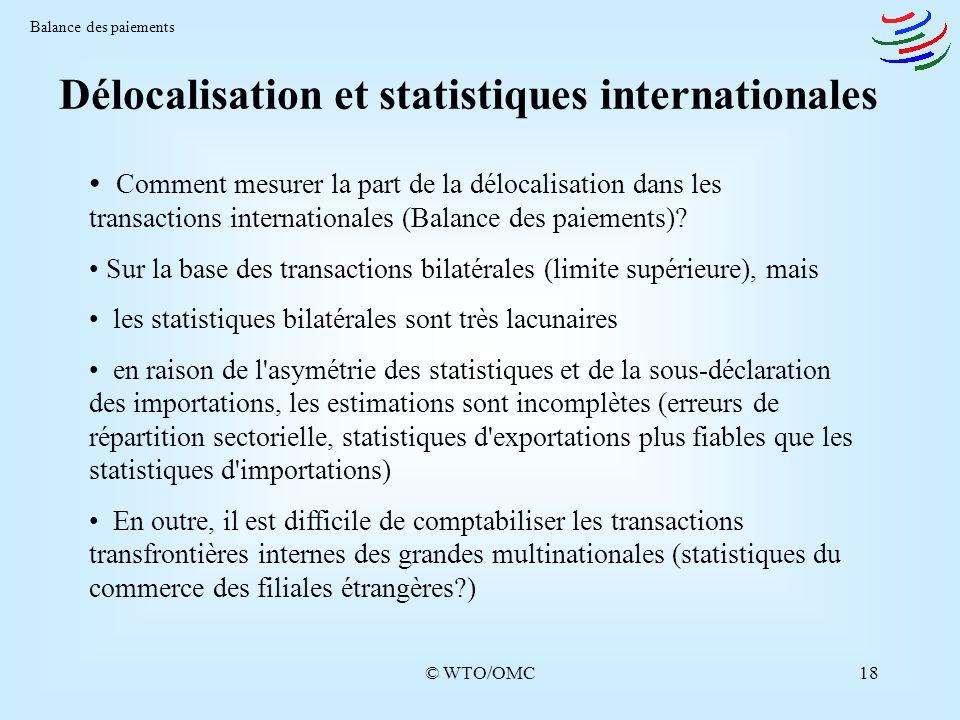 Délocalisation et statistiques internationales