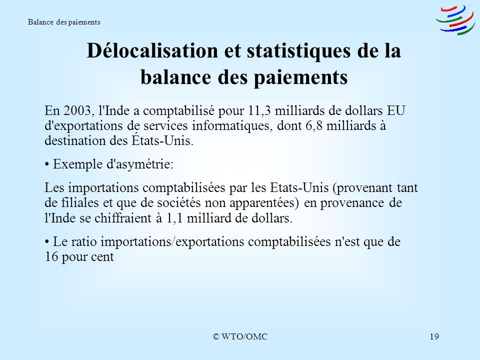 Délocalisation et statistiques de la balance des paiements