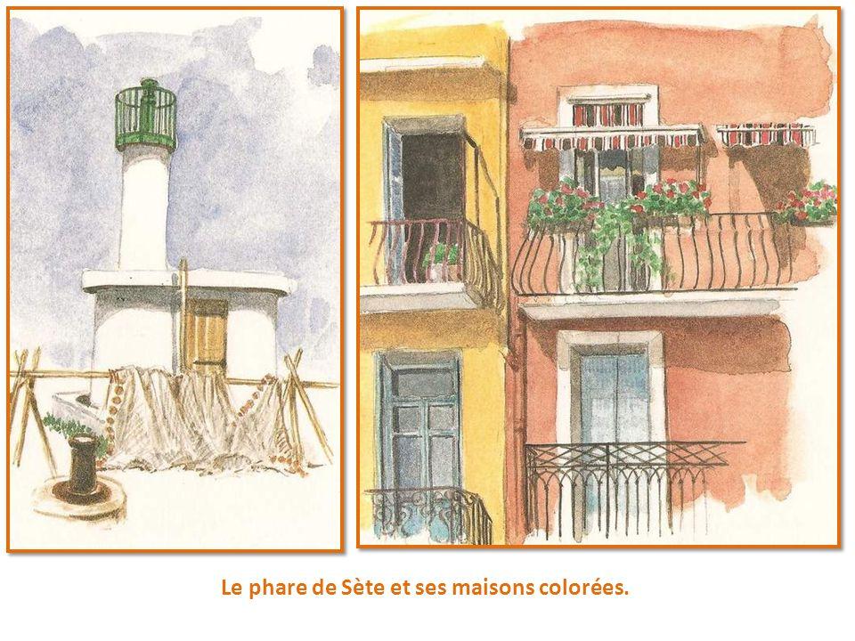 Le phare de Sète et ses maisons colorées.