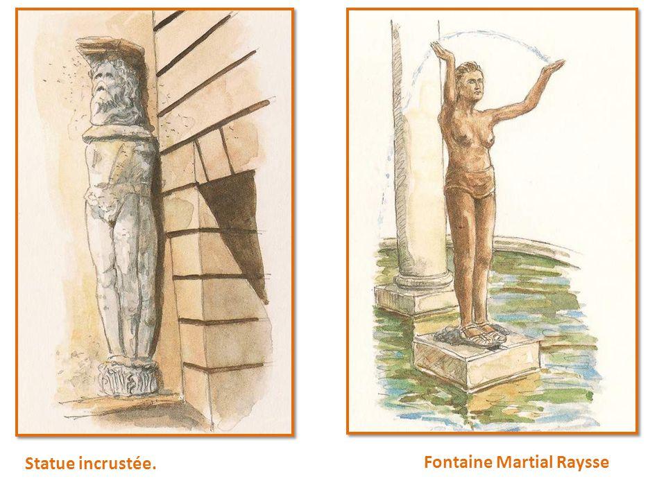 Statue incrustée. Fontaine Martial Raysse