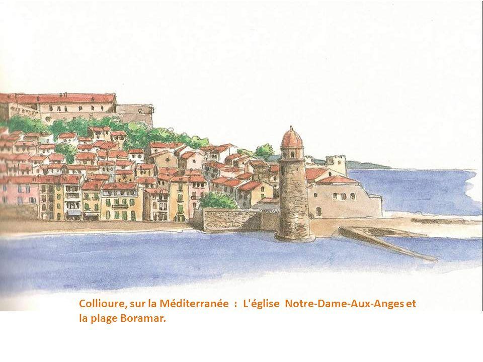 Collioure, sur la Méditerranée : L église Notre-Dame-Aux-Anges et la plage Boramar.