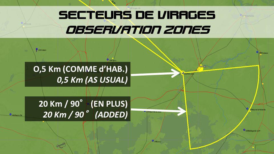SECTEURS DE VIRAGES OBSERVATION ZONES O,5 Km (COMME d'HAB.)
