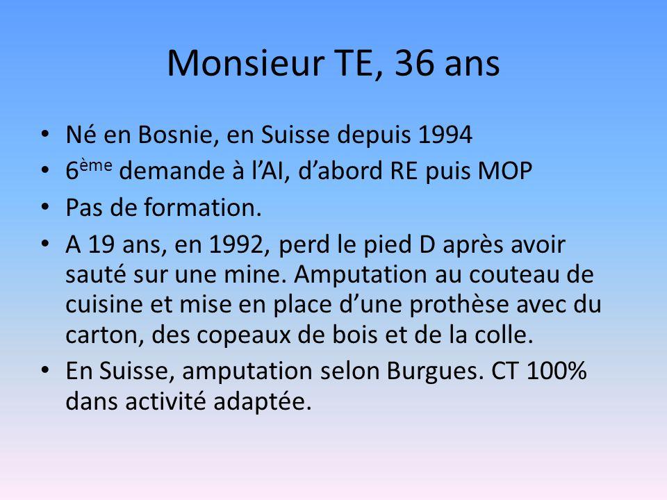 Monsieur TE, 36 ans Né en Bosnie, en Suisse depuis 1994