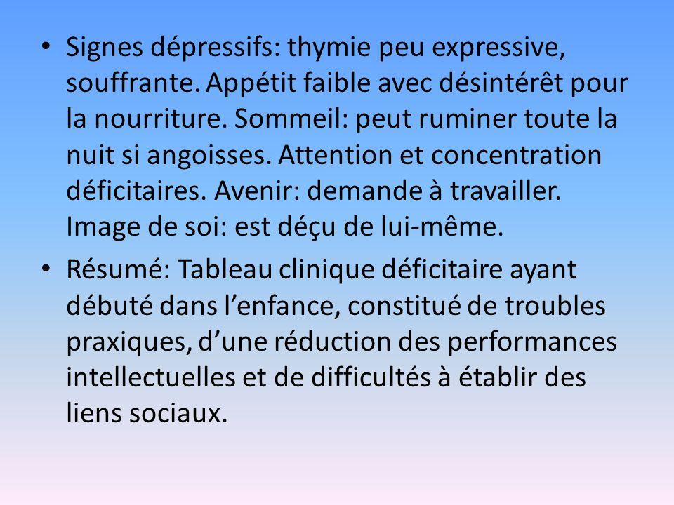 Signes dépressifs: thymie peu expressive, souffrante
