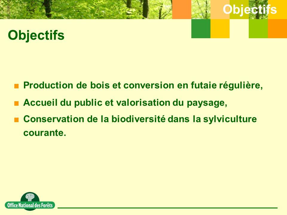 Objectifs Objectifs. Production de bois et conversion en futaie régulière, Accueil du public et valorisation du paysage,