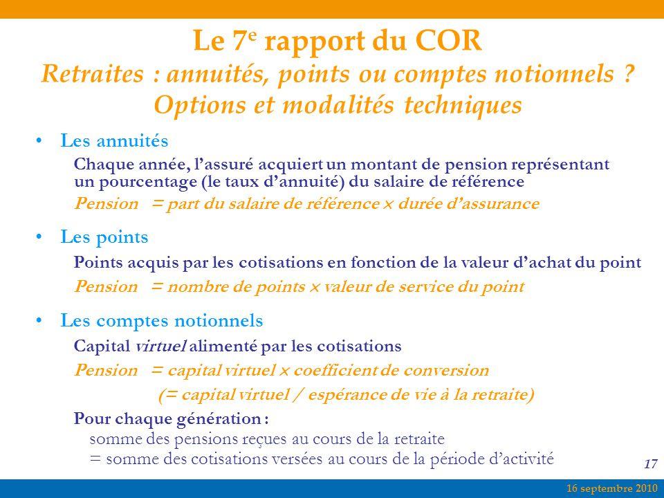 Le 7e rapport du COR Retraites : annuités, points ou comptes notionnels Options et modalités techniques