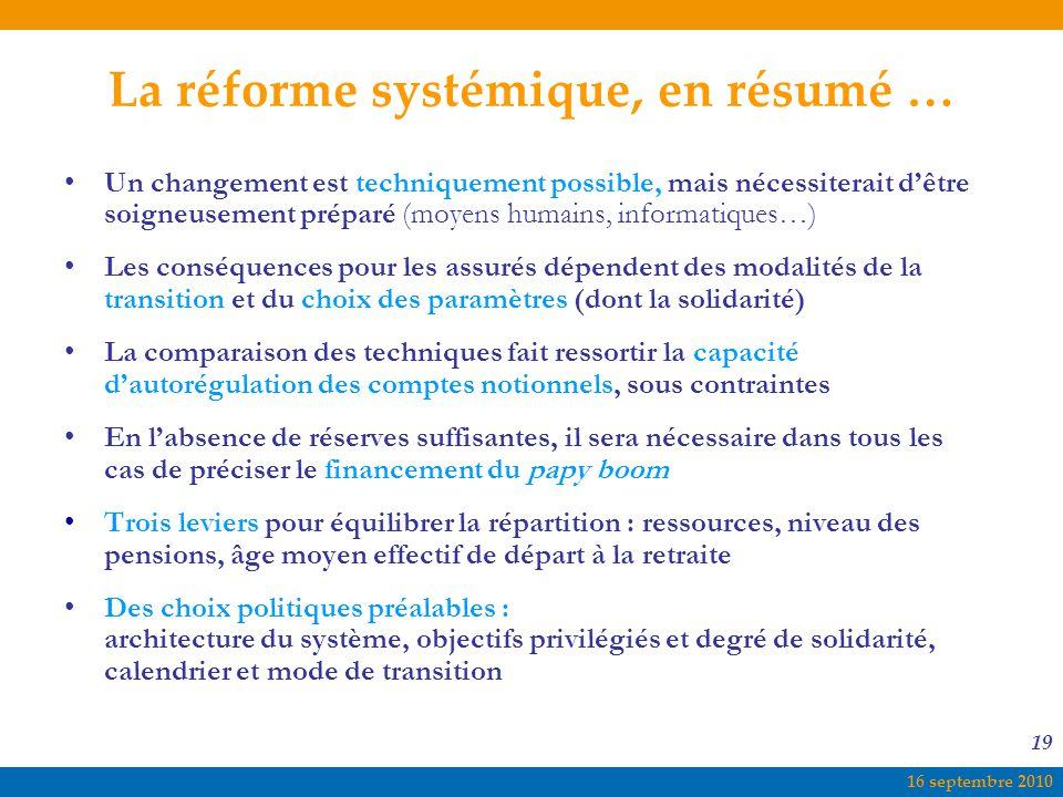 La réforme systémique, en résumé …