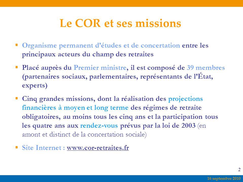 Le COR et ses missions Organisme permanent d'études et de concertation entre les principaux acteurs du champ des retraites.