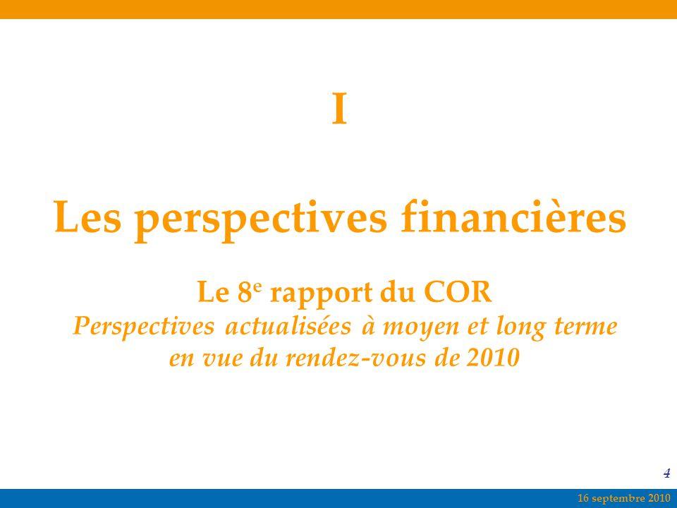 I Les perspectives financières
