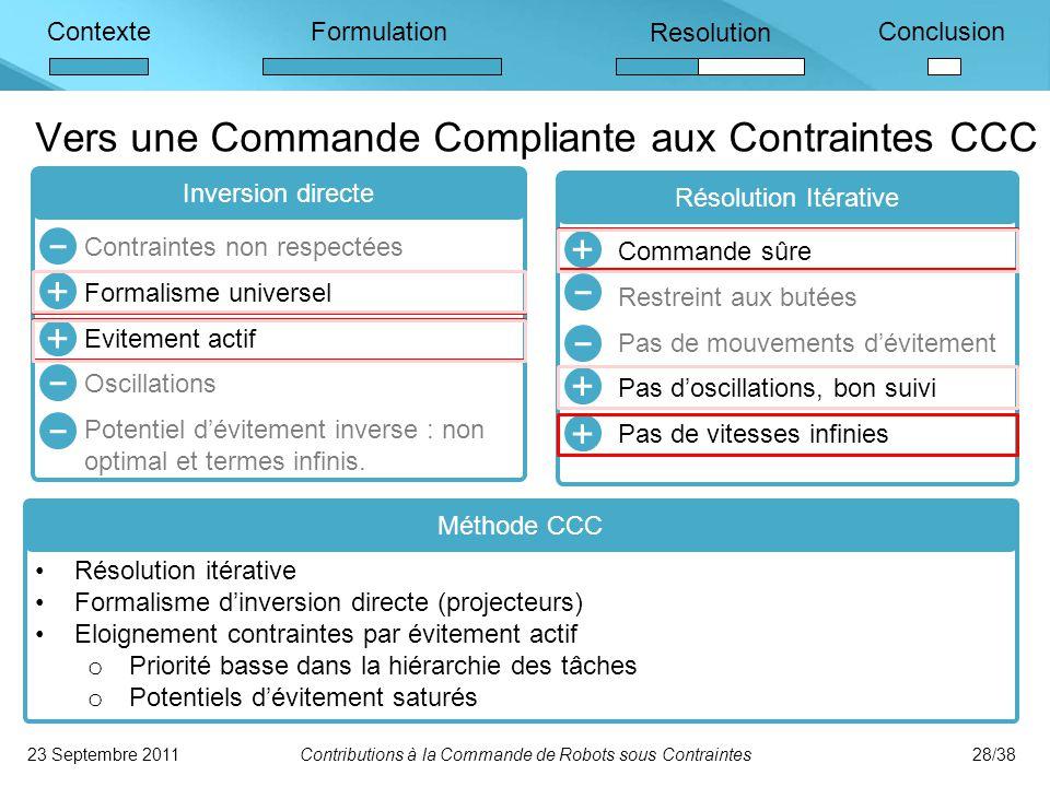 Vers une Commande Compliante aux Contraintes CCC