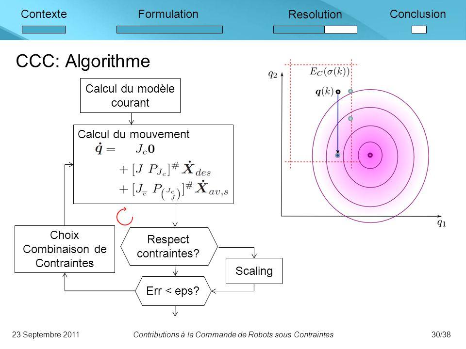 CCC: Algorithme Calcul du modèle courant Calcul du mouvement