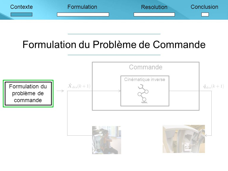 Formulation du Problème de Commande