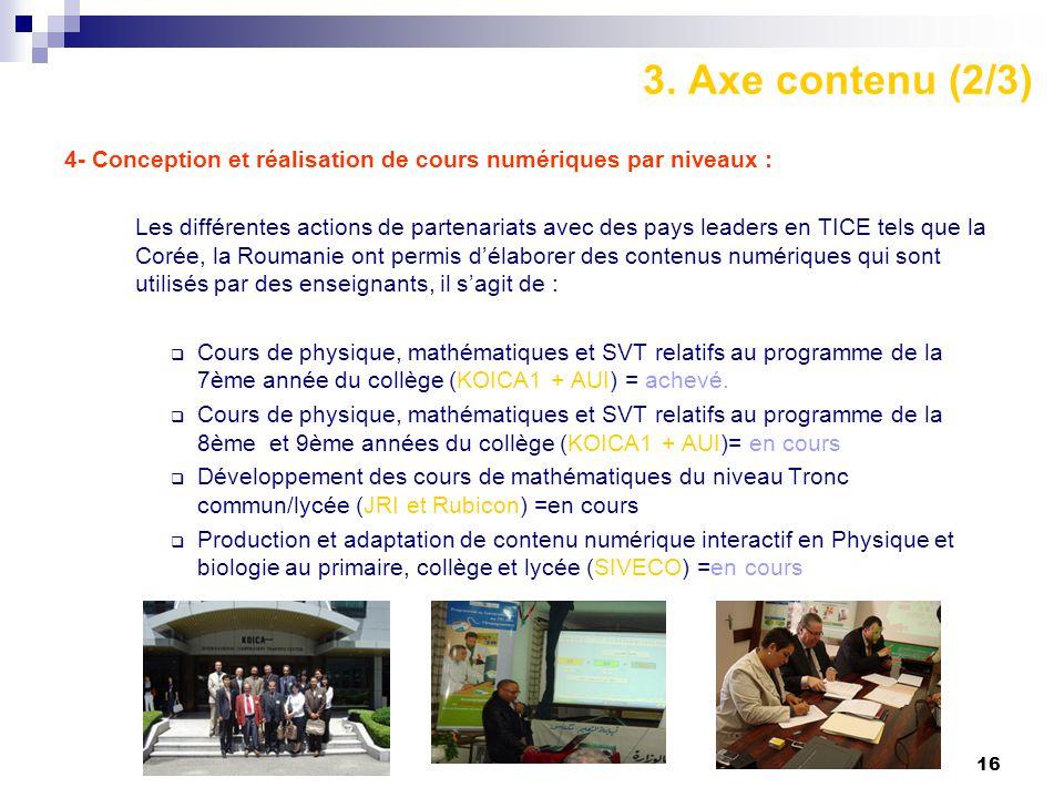 3. Axe contenu (2/3) 4- Conception et réalisation de cours numériques par niveaux :