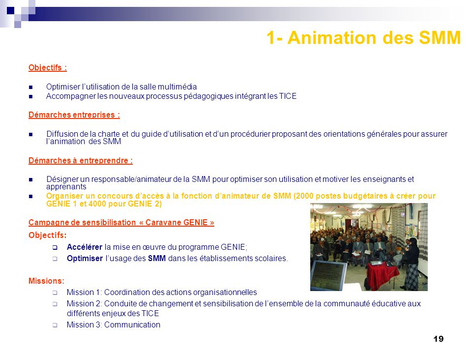 1- Animation des SMM Objectifs: Objectifs :