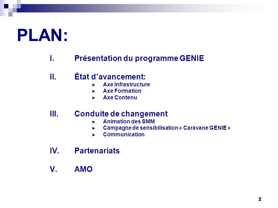 PLAN: Présentation du programme GENIE État d'avancement: