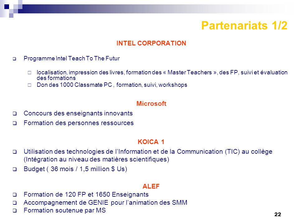 Partenariats 1/2 INTEL CORPORATION Microsoft