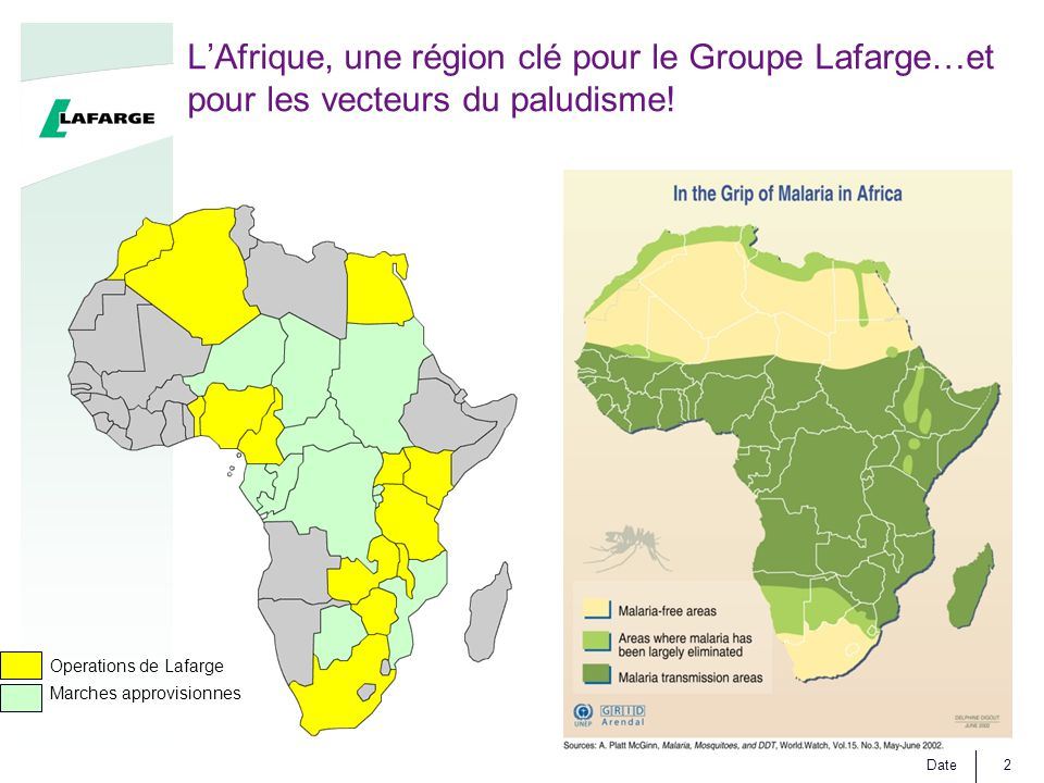 L'Afrique, une région clé pour le Groupe Lafarge…et pour les vecteurs du paludisme!