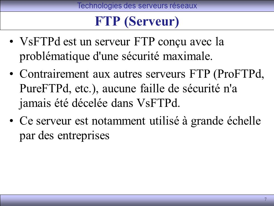 Technologies des serveurs réseaux