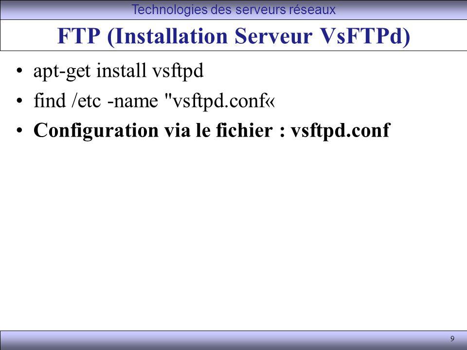 FTP (Installation Serveur VsFTPd)