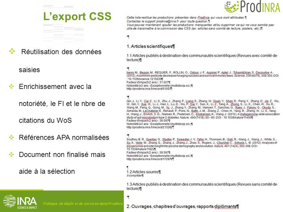 L'export CSS Réutilisation des données saisies
