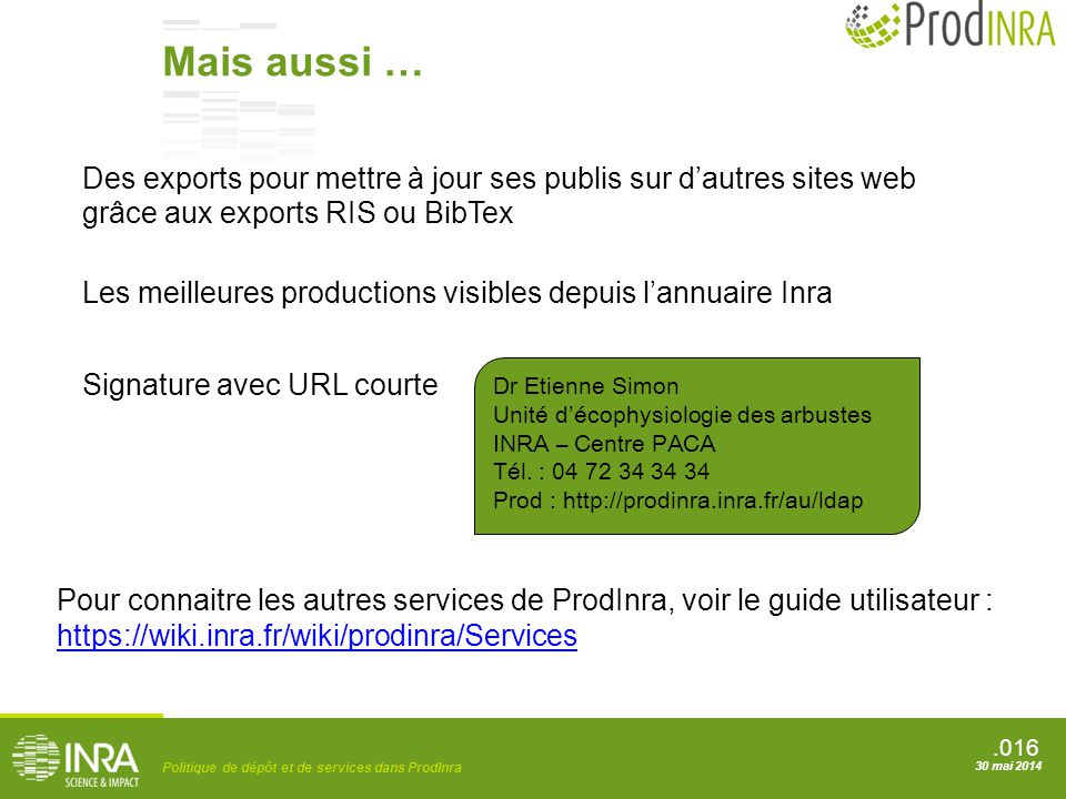 Mais aussi … Des exports pour mettre à jour ses publis sur d'autres sites web grâce aux exports RIS ou BibTex.