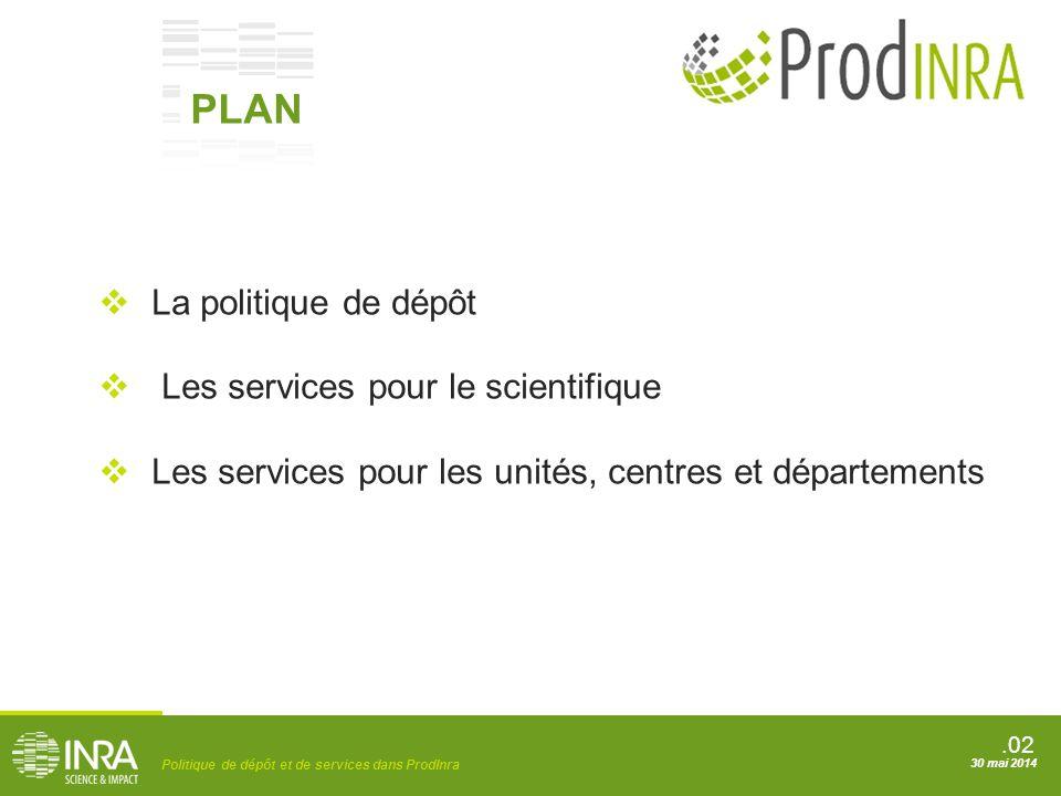 PLAN La politique de dépôt Les services pour le scientifique