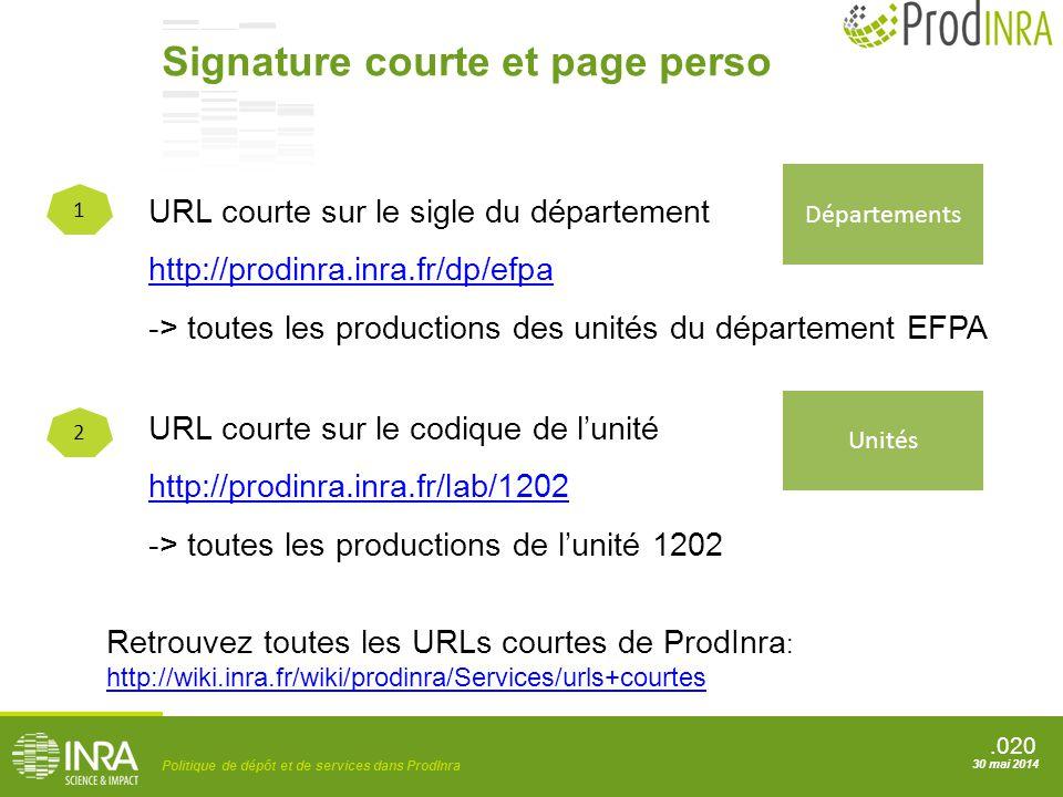 Signature courte et page perso