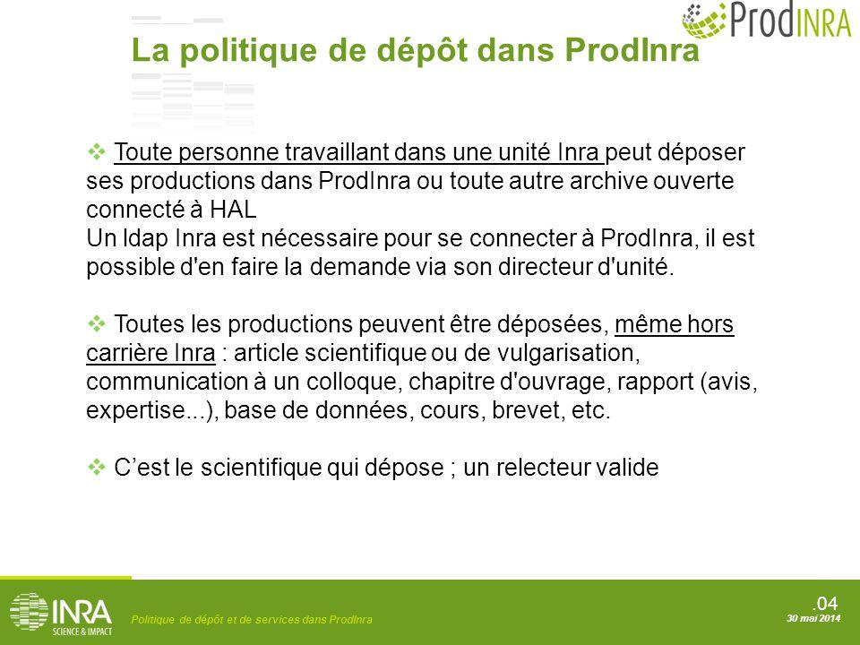La politique de dépôt dans ProdInra