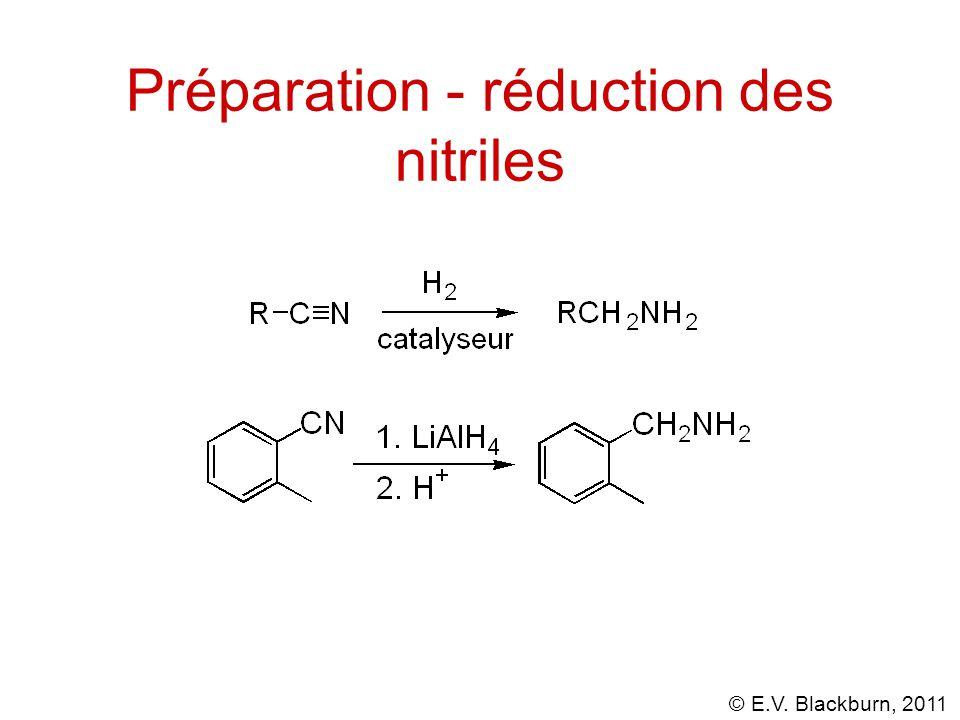 Préparation - réduction des nitriles