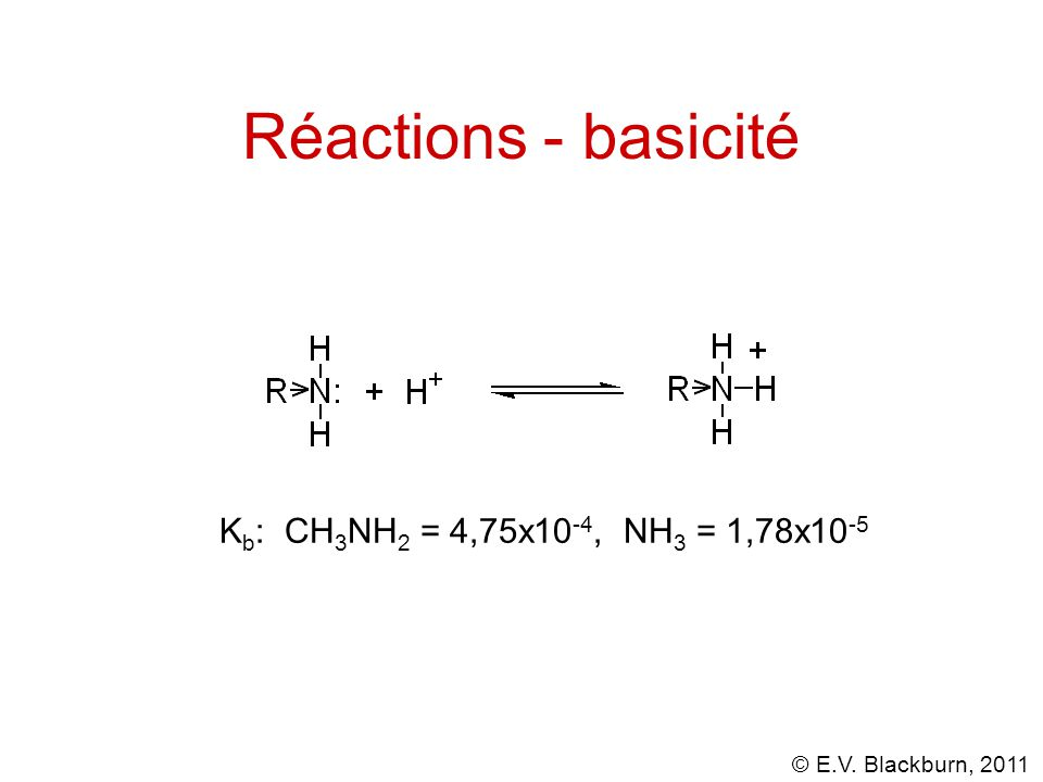 Réactions - basicité Kb: CH3NH2 = 4,75x10-4, NH3 = 1,78x10-5