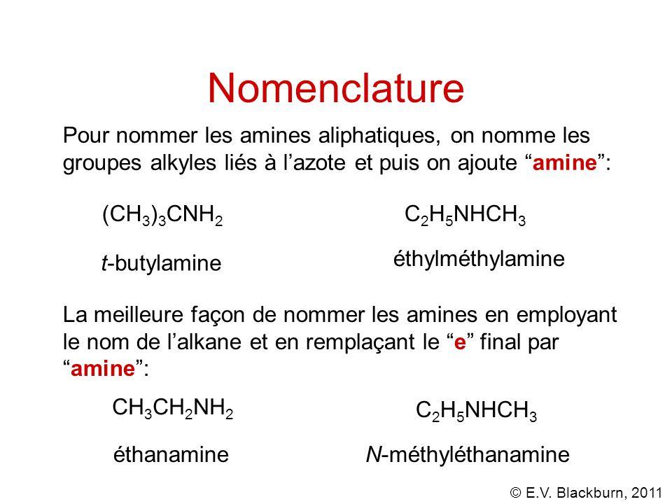 Nomenclature Pour nommer les amines aliphatiques, on nomme les groupes alkyles liés à l'azote et puis on ajoute amine :