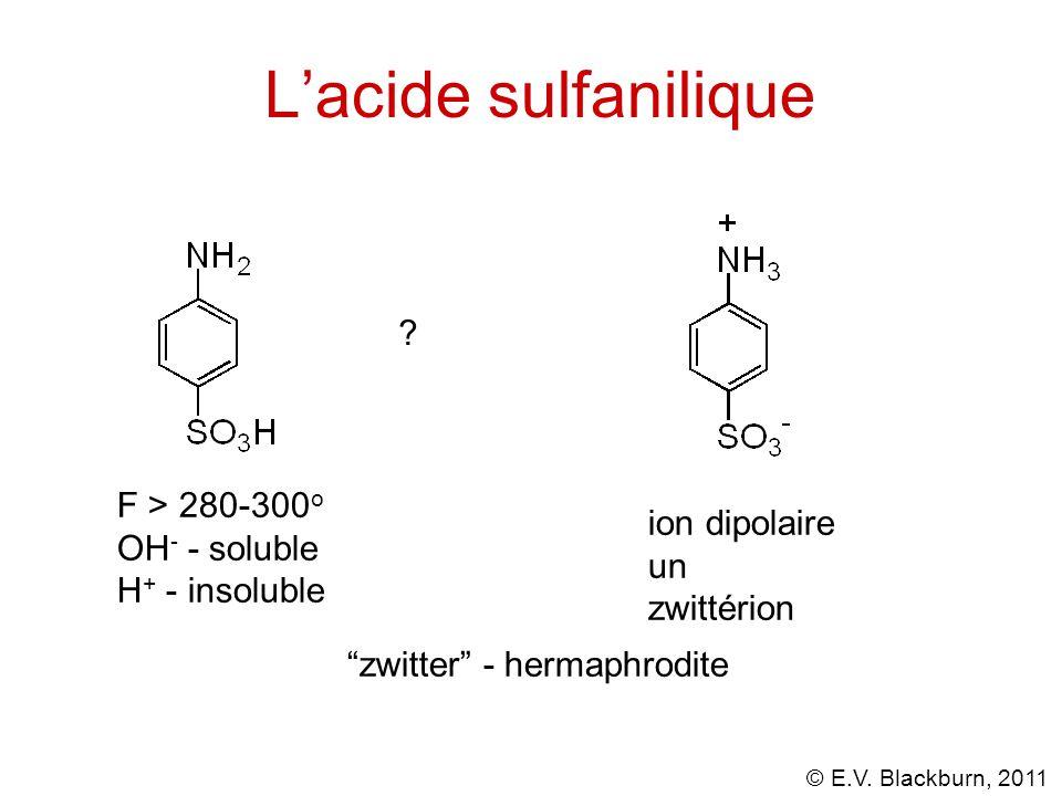 L'acide sulfanilique F > 280-300o OH- - soluble