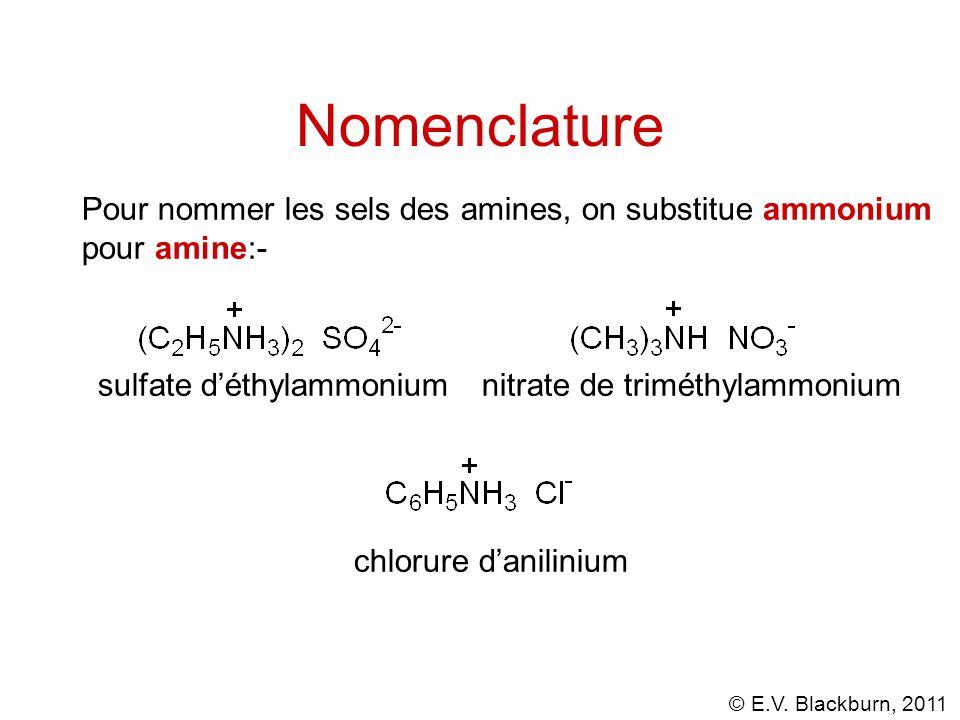 Nomenclature Pour nommer les sels des amines, on substitue ammonium