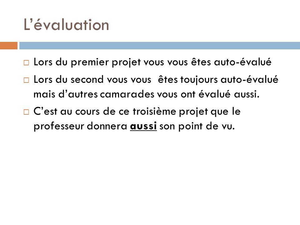 L'évaluation Lors du premier projet vous vous êtes auto-évalué