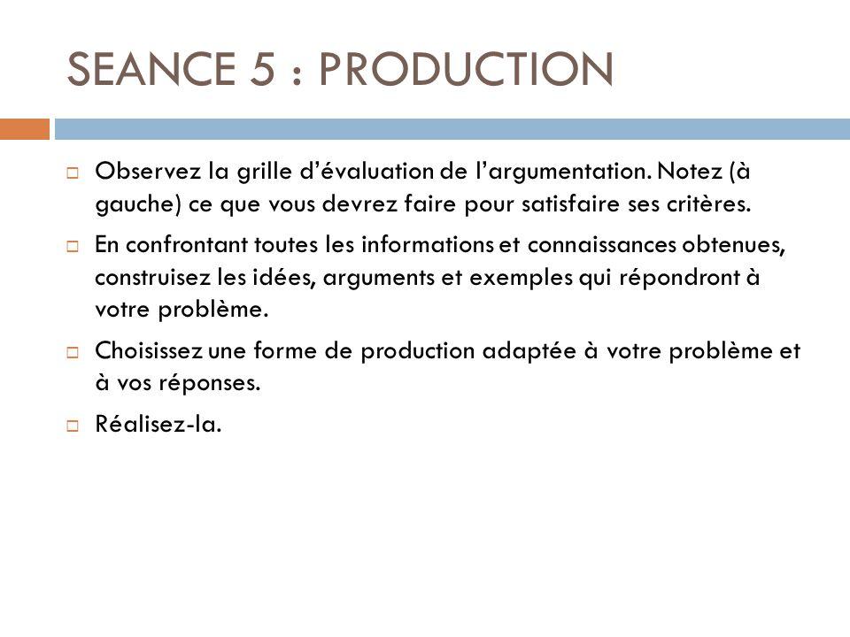 SEANCE 5 : PRODUCTION Observez la grille d'évaluation de l'argumentation. Notez (à gauche) ce que vous devrez faire pour satisfaire ses critères.