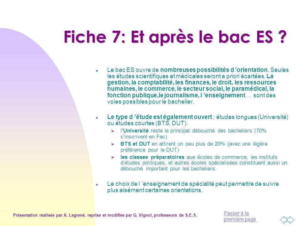 Fiche 7: Et après le bac ES