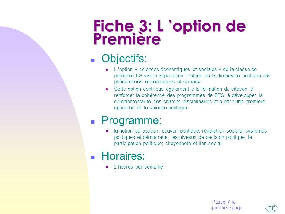 Fiche 3: L 'option de Première
