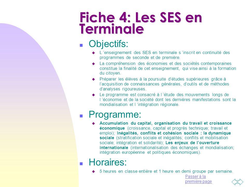 Fiche 4: Les SES en Terminale