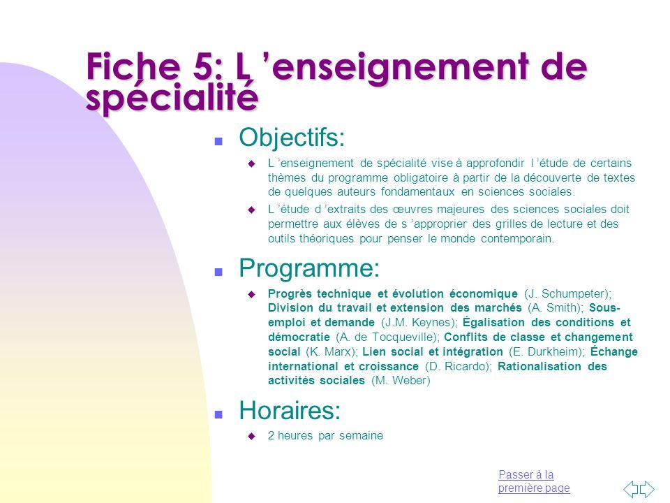 Fiche 5: L 'enseignement de spécialité