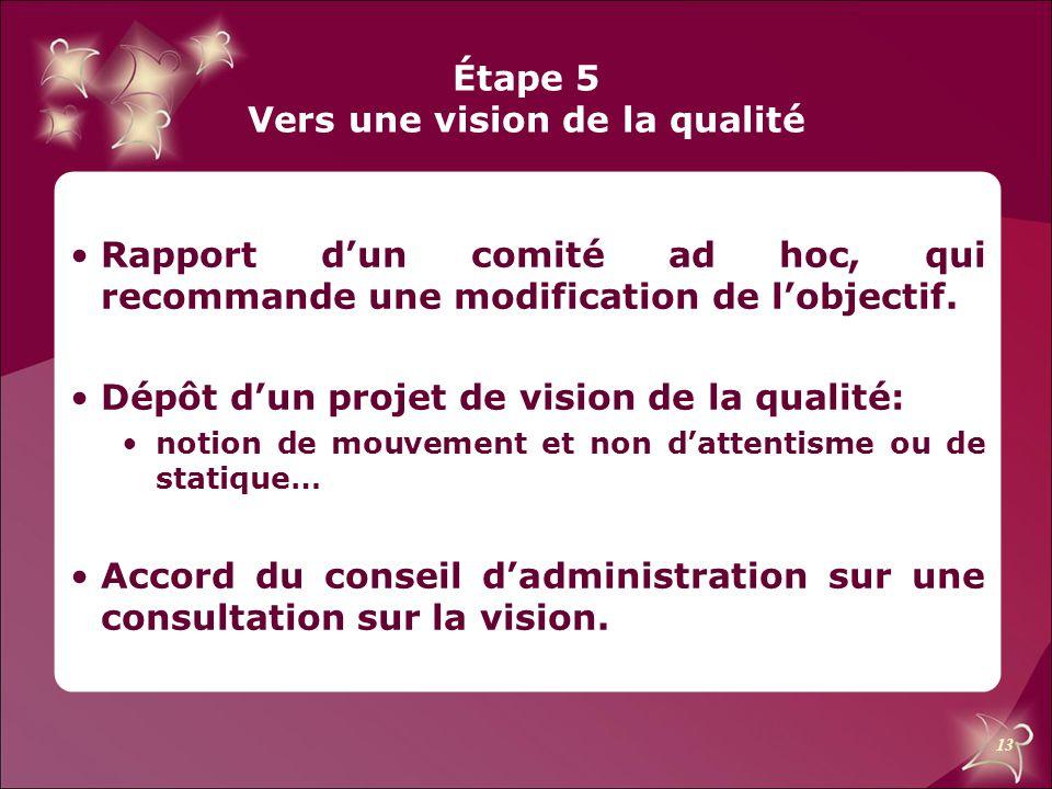 Étape 5 Vers une vision de la qualité