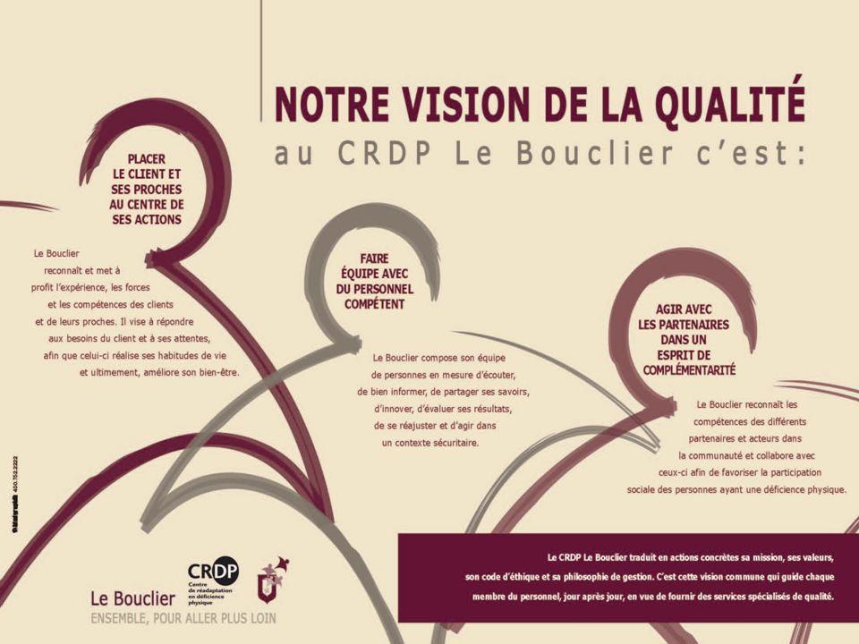 NOTRE VISION DE LA QUALITÉ au C R D P Le Bouclier c'est: