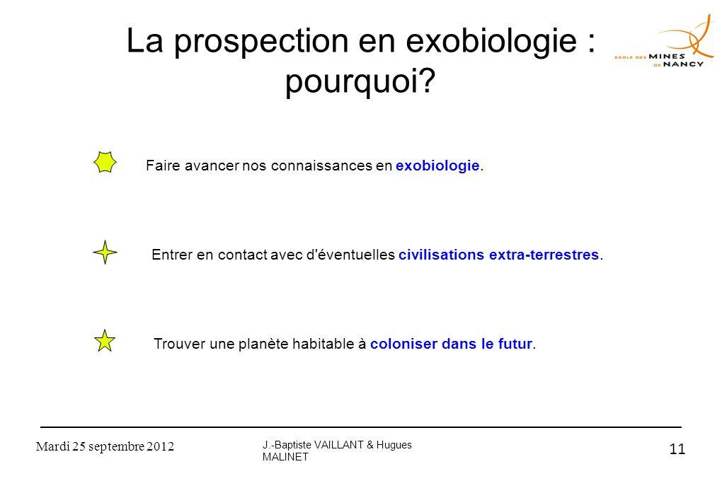 La prospection en exobiologie : pourquoi