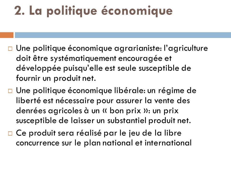 2. La politique économique