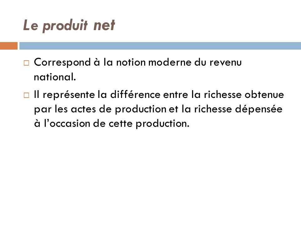 Le produit net Correspond à la notion moderne du revenu national.