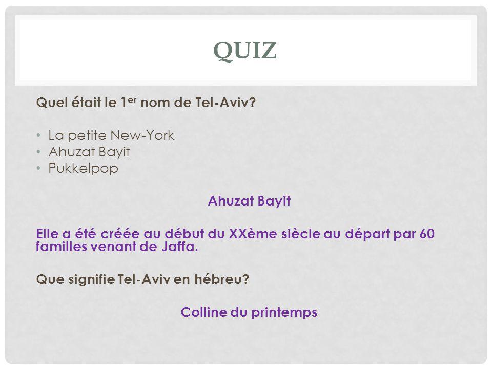 QUIZ Quel était le 1er nom de Tel-Aviv La petite New-York