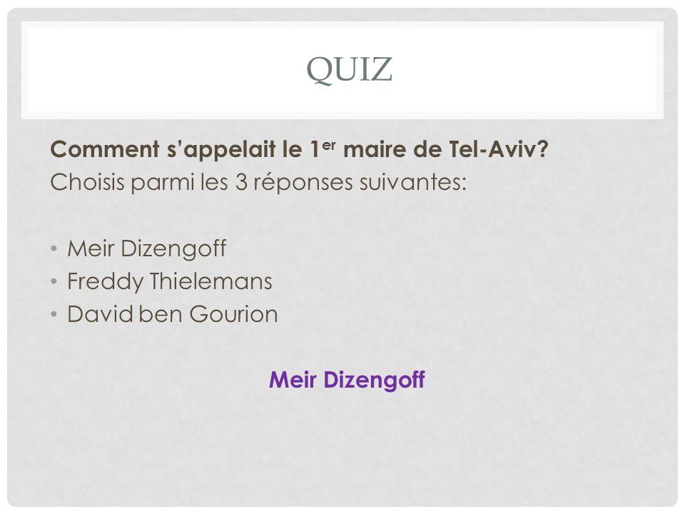 QUIZ Comment s'appelait le 1er maire de Tel-Aviv