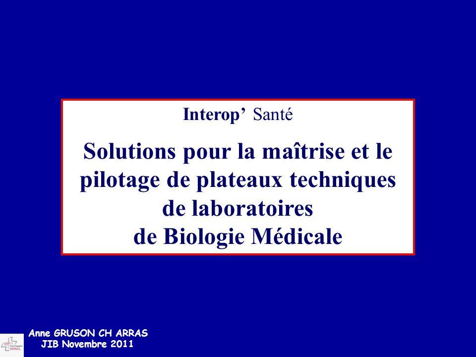 Interop' Santé Solutions pour la maîtrise et le pilotage de plateaux techniques de laboratoires. de Biologie Médicale.