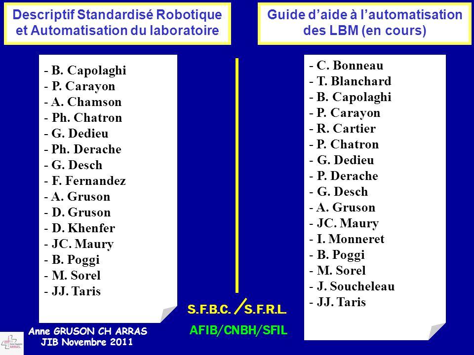 Descriptif Standardisé Robotique et Automatisation du laboratoire